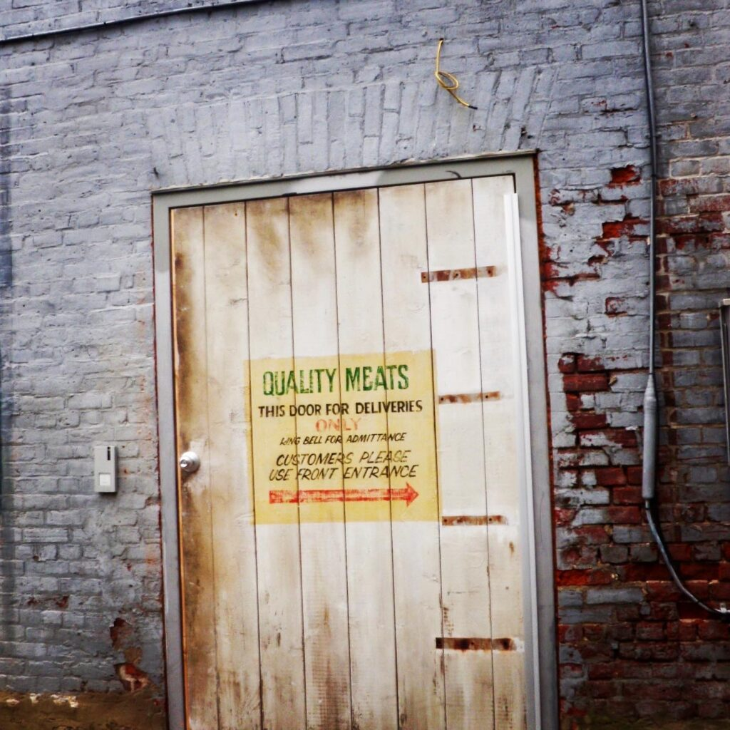 fake door sign. Back alley of Port Hope