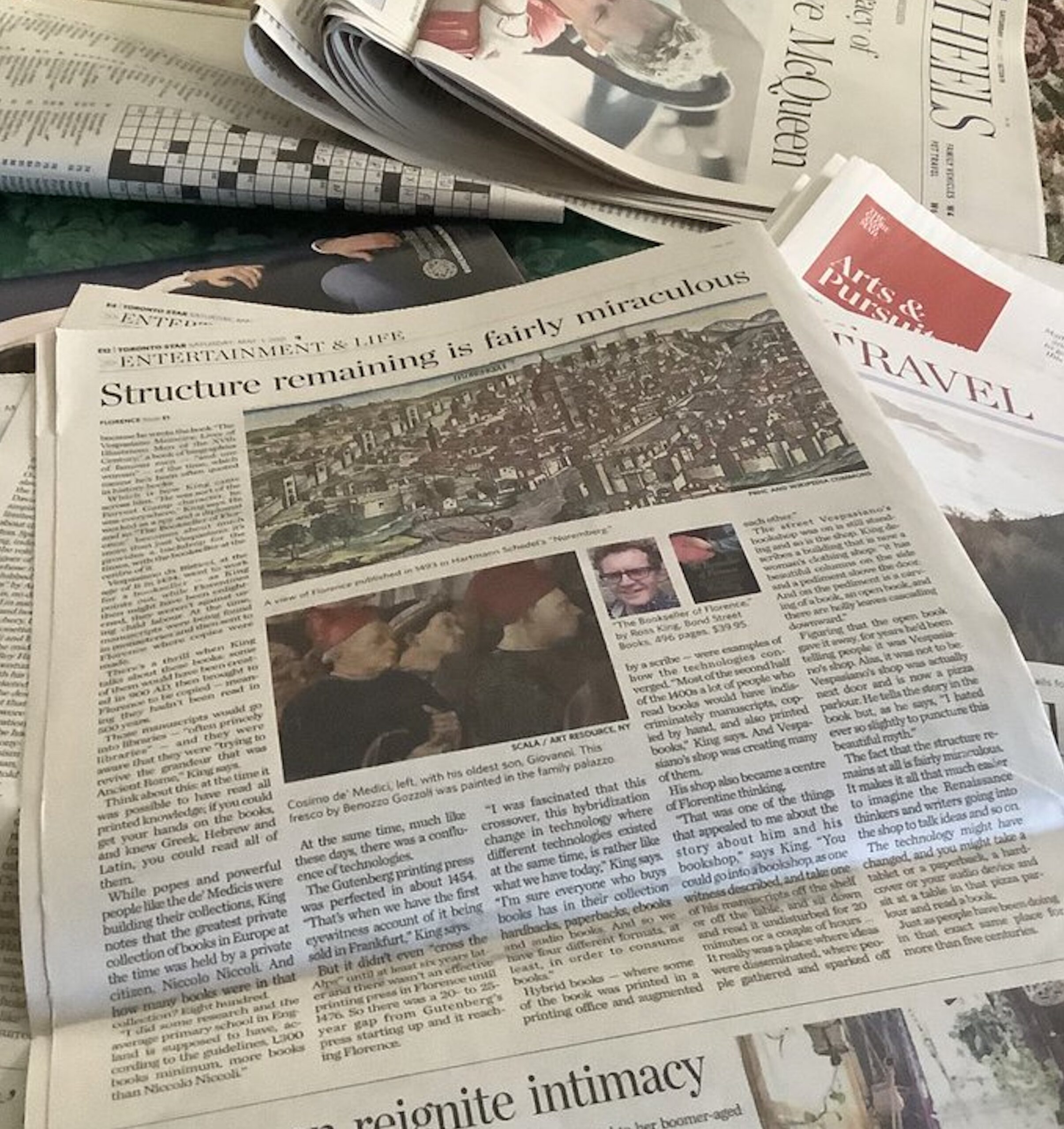 Ross King - big news in the Toronto Star