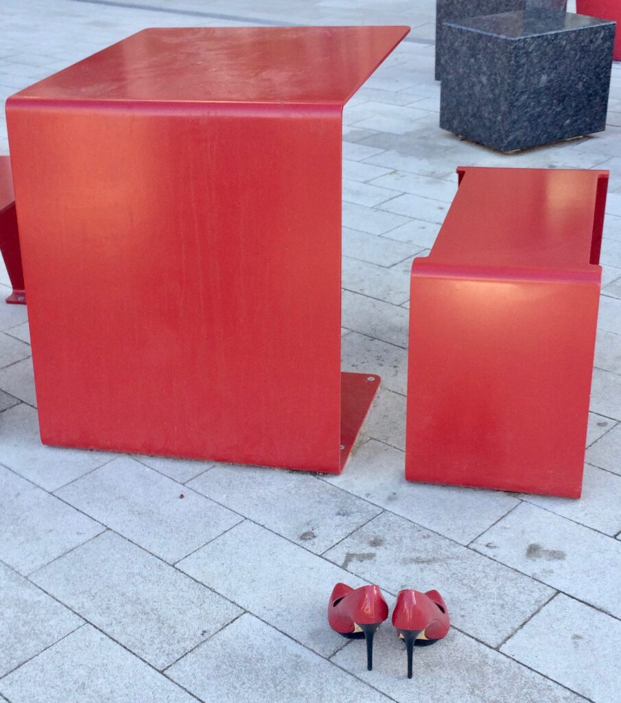 missing red shoes